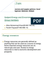 Energy Resources and Supply Options