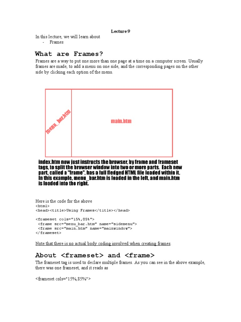 Lecture 9 | Web Page | Html