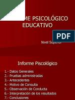 Informe Psicologico Educativo Nivel Superior