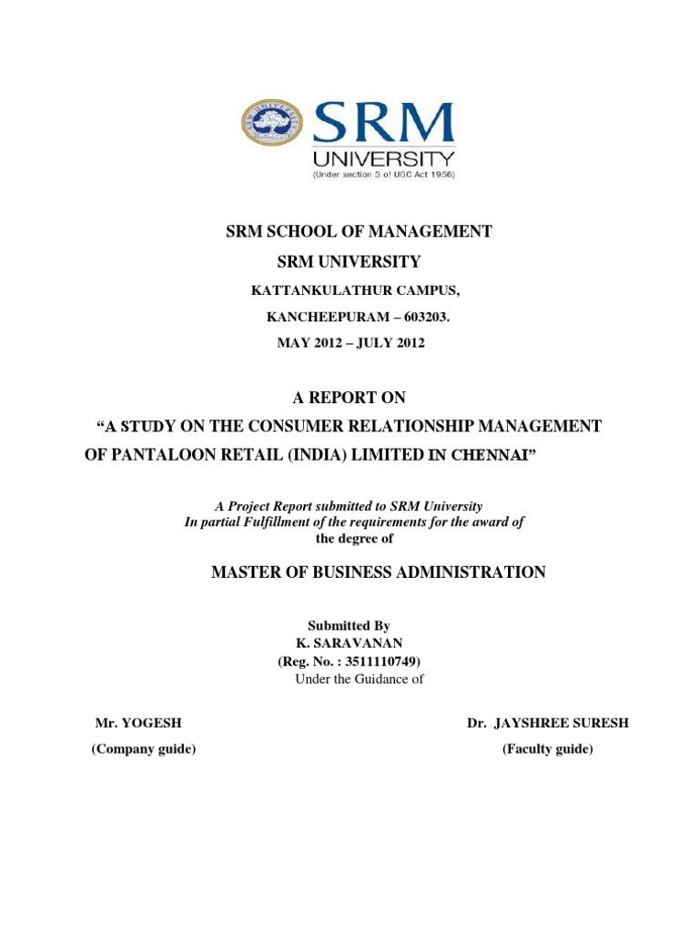 customer relationship management in pantaloons | Customer ...