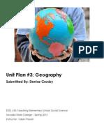 EDEL453 Spring2013 DeniseCrosby Unit 3 Geography PLANNER
