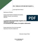 La Genesi Dell'Antropologia Negativa Di Giacomo Leopardi