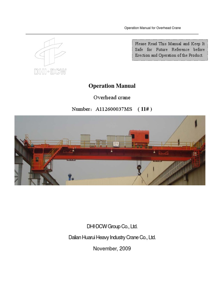 11 Eot Crane Operation Manual Machine Screw Shut Off Wiring Diagram