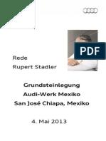 Rupert Stadler - Grundsteinlegung Audi-Werk Mexiko - 2013