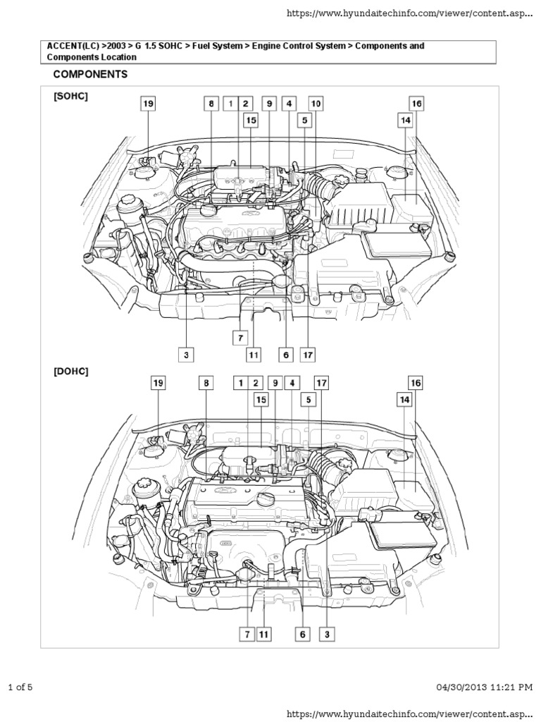 Hyundai Accent SOHC Engine Components