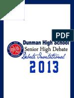 DHS Debate Invitational 2013 Tournament Booklet