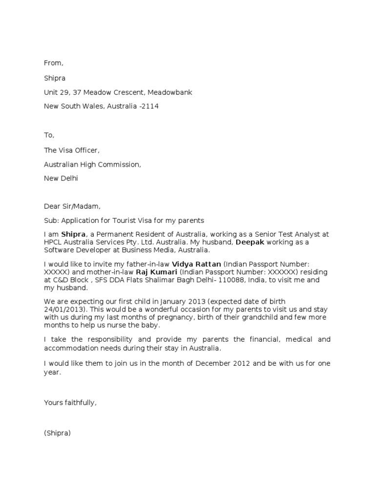 Sample Invitation Letter For Visitor Visa For Australia.  Sample Invitation Letter