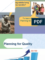 Education Planning for Quality