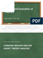 Analysis and Evaluation of Theories