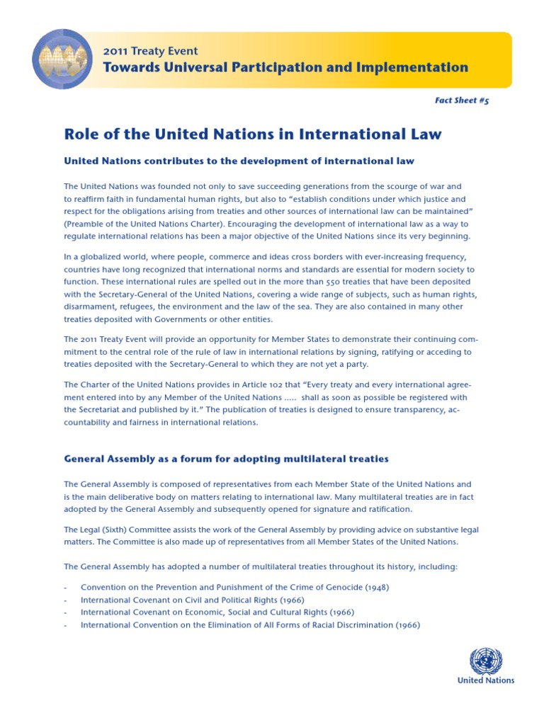 role of un in international law pdf   Treaty   United Nations