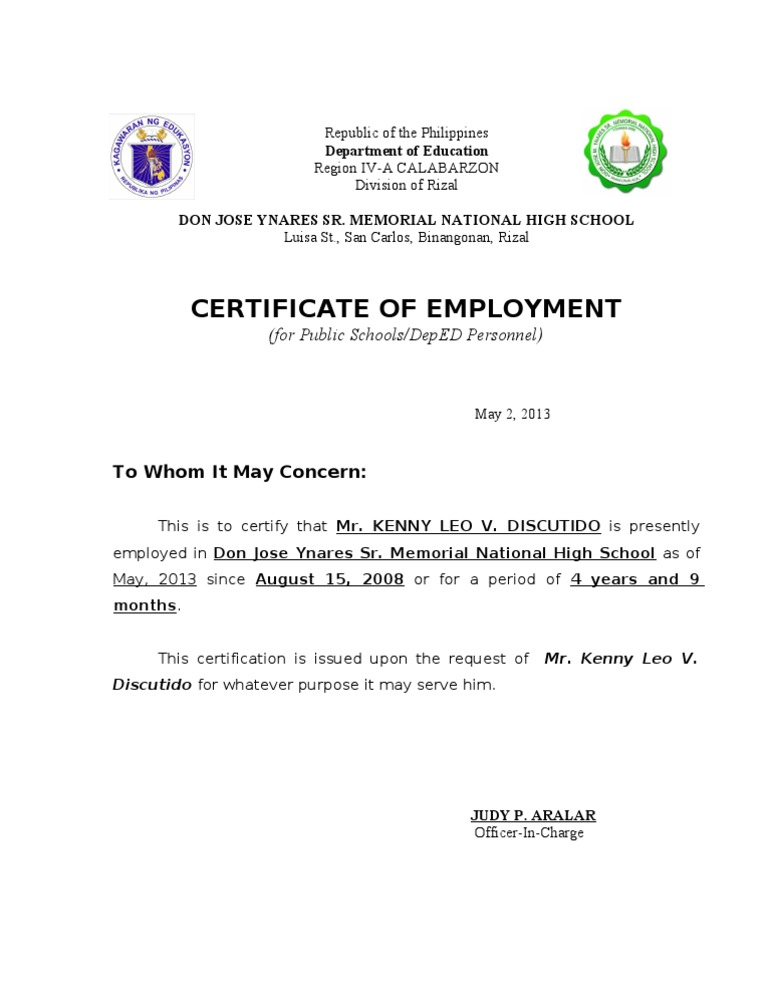 Certificate of employment yadclub Images