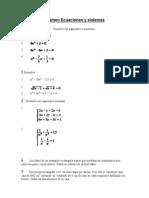 Examen Ecuaciones y Sistemas