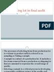 Sampling Lot in Final Audit