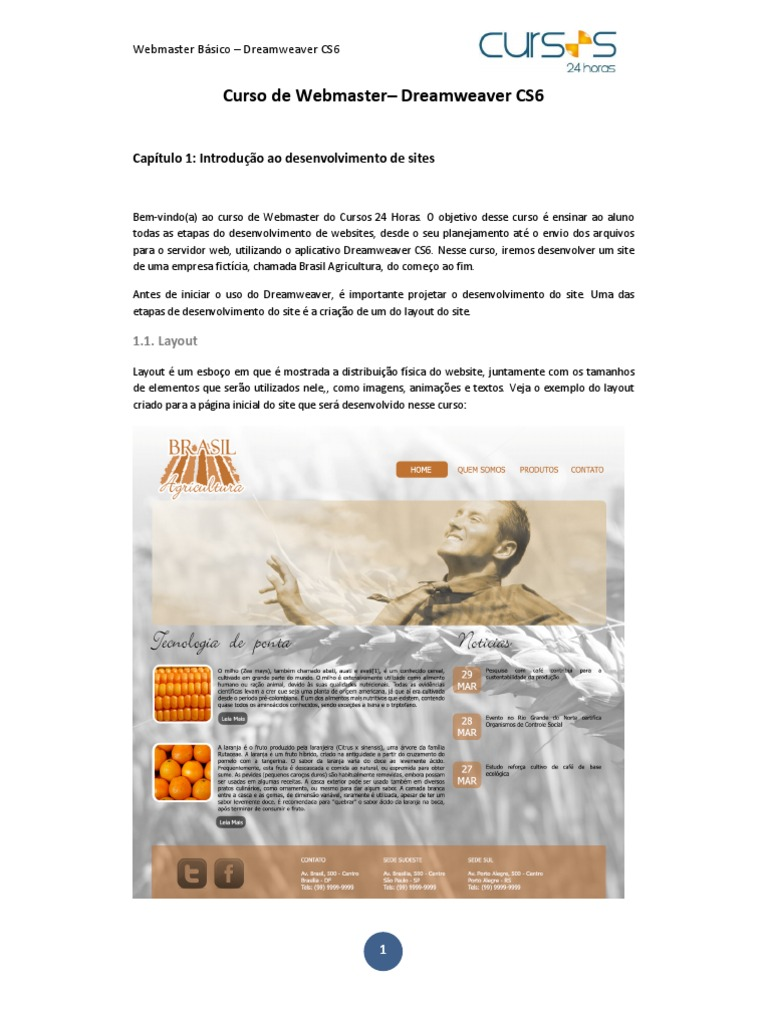 DREAMWEAVER CS3 APOSTILA DE BAIXAR