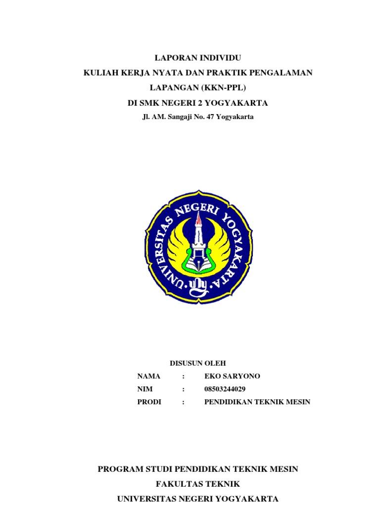 Laporan Kkn Ppl Di Smk N 2 Yogyakarta Oleh Eko Saryono 08503244029