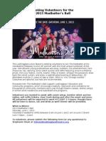 Volunteer Info Sheet 2013 Madhatter's Ball