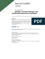 Conflits 566 43 Introduction l Ennemi Interieur Une Construction Discursive Et Politique
