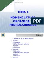 Tema 1 Nomenclatura Organica Hidrocarburos