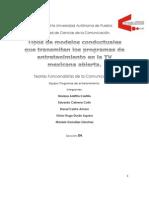 Tipos de Modelos Conductuales Que Transmiten Los Programas de Entretenimiento en La TV Mexicana Abierta (1)