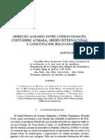 Derecho Agrario Entre Codigo Frances Costumbre Aymara Orden Internacional y Constitucion Boliviana - Bartolome Cavero