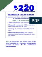 INFORMACIÓN DE FACES