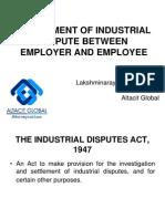 settlement of industrial dispute between employer and employee