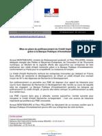 Mise en place du préfinancement du Crédit Impôt Recherche grâce à la Banque Publique d'Investissement