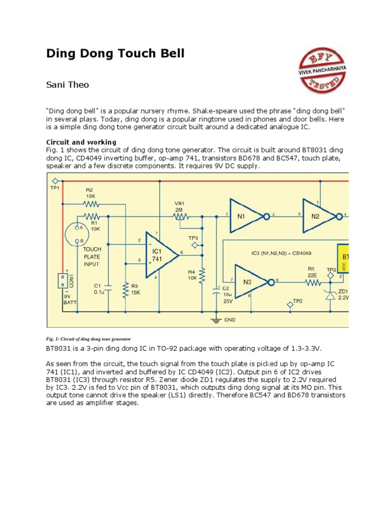 Ding Dong Touch Bell Electronic Circuits Printed Circuit Board Tone Generator Diagram