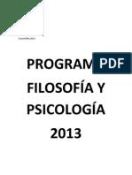 Programa Filosofía y Psicología