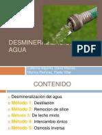 Desmineralización del Agua (Osmosis Inversa)
