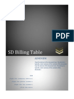 SD Billing Table