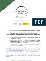El programa L'Oréal - UNESCO Por las Mujeres en la Ciencia abre la convocatoria para su VIII edición (1)