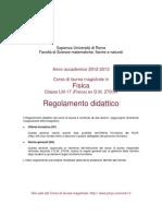 Regolamento 2012-2013 Della Laurea Magistrale in Fisica