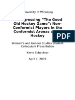 Transgressing the Good Old Hockey Game - April 4th - WGS Colloquium at University of Winnipeg
