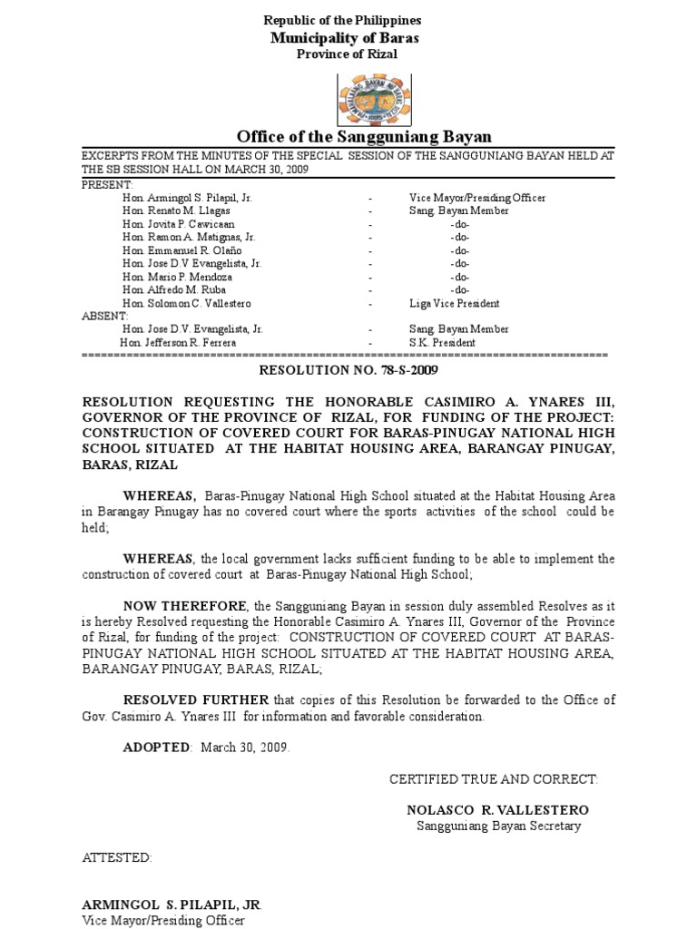 Request To Gov Casimiro Ynares Iii For The Construction Of Covered