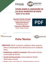 Encuesta 2013 El Desempeño de la Democracia  en Pasto