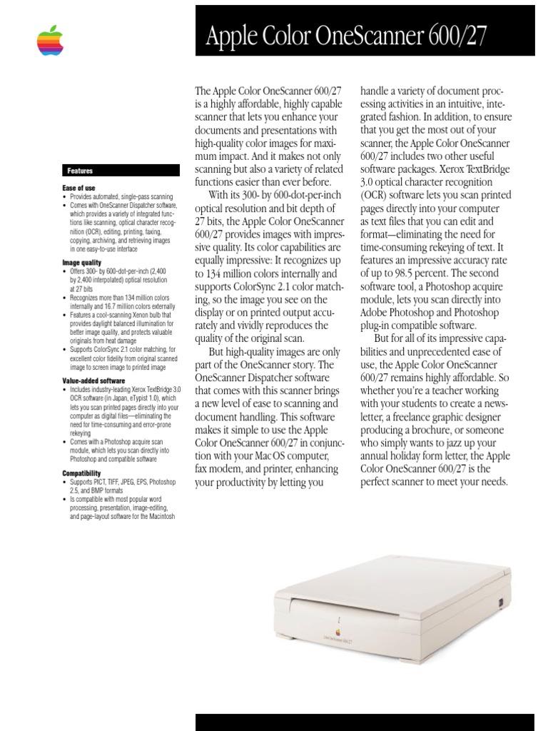 Apple Color OneScanner 600/27 64 BIT Driver
