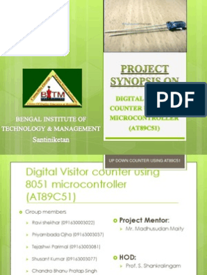 Digital visitor counter using 8051 microcontroller pptx