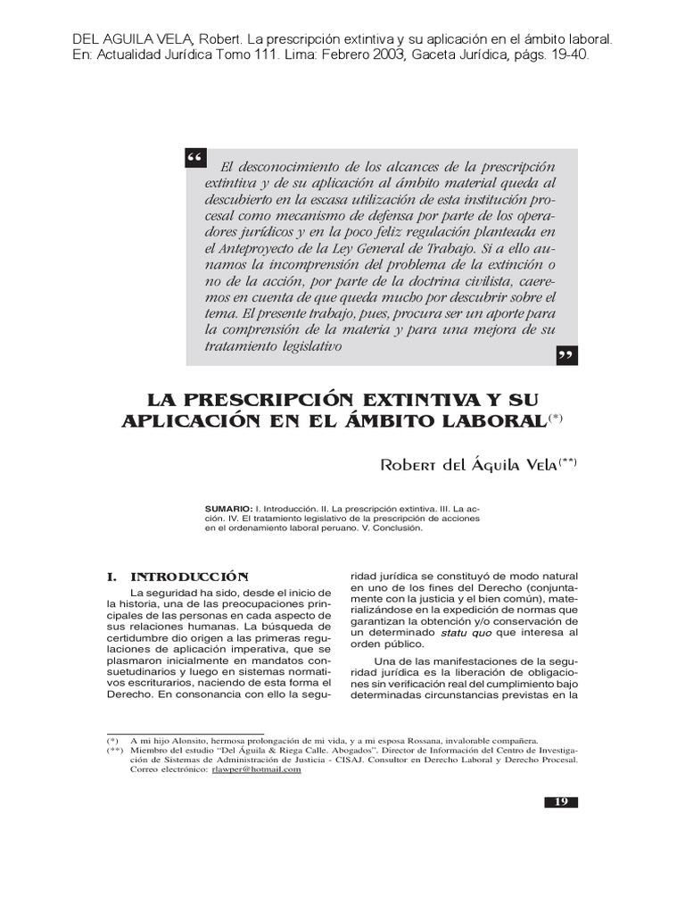 La prescripcion extintiva y su aplicacion en el ambito laboral ...