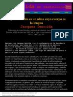 Jacques Derrida - El Pensamiento Es Un Alma Cuyo Cuerpo Es La Lengua