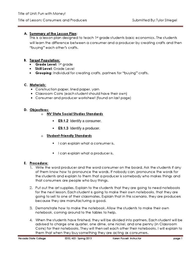 Economics Day 4 Lesson Plan Educational Psychology