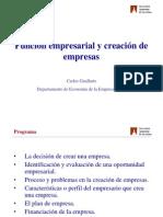 Funcion Empresarial y Creacion de Empresas