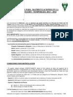 Normativa Para Matriculaciones 2013