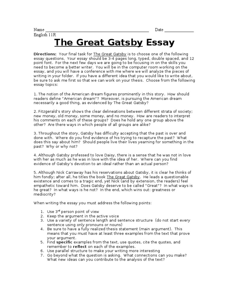 The Great Gatsby Final Essay | The Great Gatsby | American Dream