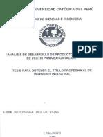 Catolita Del Peru Urquizo Rivas Lisbeth Desarrollo Prendas Vestir Exportacion
