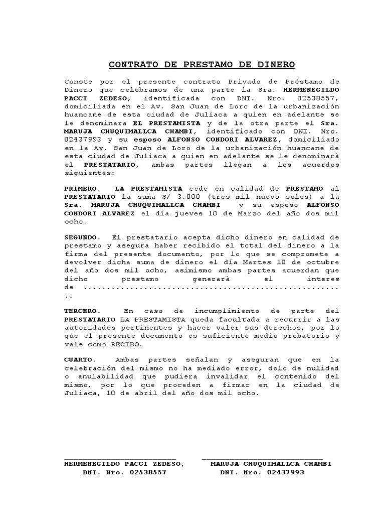 Modelo Contrato De Prestamo De Dinero