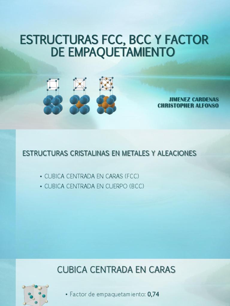 Estructuras Fcc Bcc Y Factor De Empaquetamiento