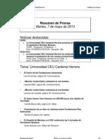 Resumen Prensa CEU-UCH 7-05-2013