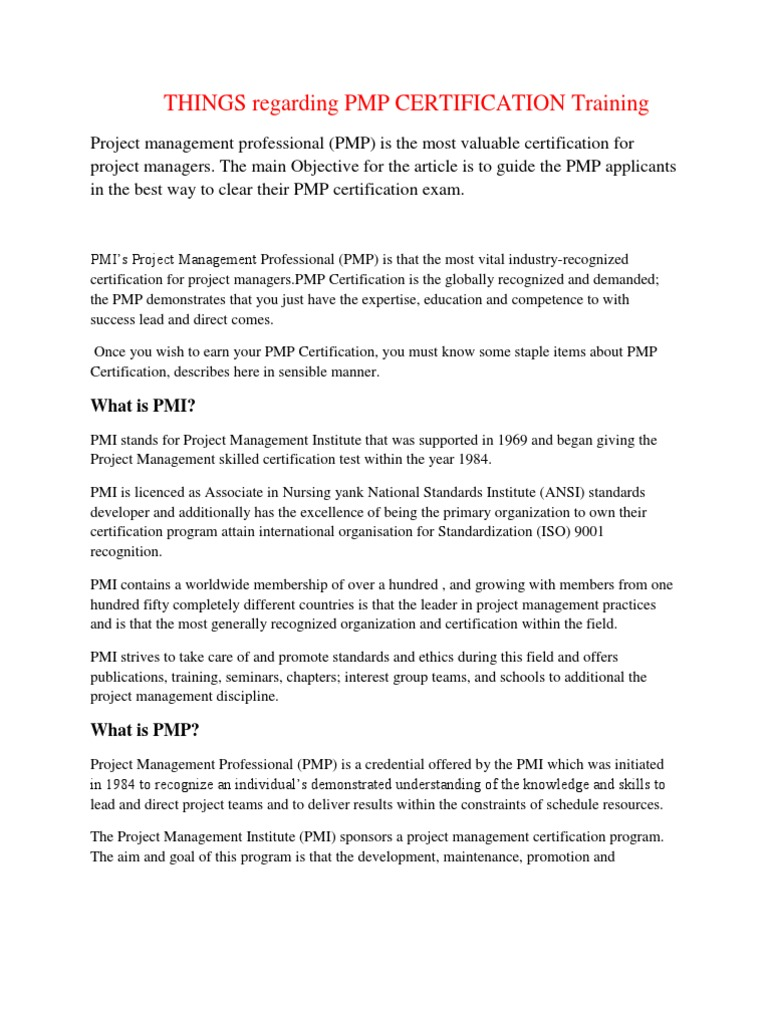 Things Regarding Pmp Certification Training Project Management