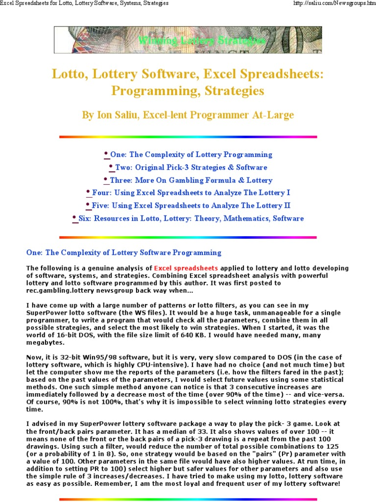Excel Spreadsheets for Lott    | Lottery | Powerball